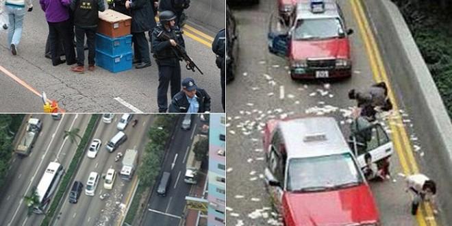 زحمة وفوضى إثر تبعثر نحو مليوني دولار بالشارع.