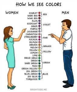 1- دائمًا المرأة لها تصنيفها الخاص في الألوان أما الرجل فهو يلخص كل ذلك في 6 ألوان فقط.