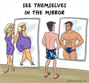2- دائما تنظر المرأة لنفسها في المرآة وتشتكى من شيء ما، أما الرجل فيرى نفسه فاندام.