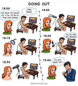 8- الخروج، المرأة تحتاج إلى ساعات طويلة لتجهز للخروج أما الرجل لا يحتاج غير دقائق.