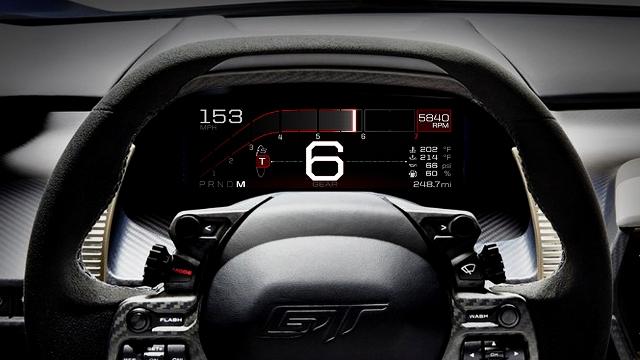 لوحة قيادة المستقبل مع شاشة العدادات الرقمية للسيارة الفائقة فوردGT الجديدة كليا